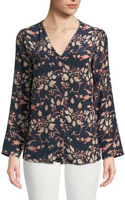 Tolani Greer Foliage-Print Button-Front Silk Blouse, Plus Size