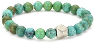 Ettika Men's Turquoise-Color Stretch Bracelet with Large Colored Cornerless Bead