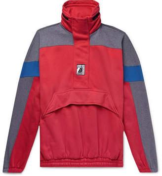 Balenciaga Oversized Colour-Block Cotton-Blend Jersey Half-Zip Hoodie