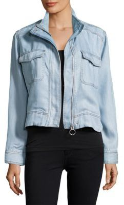 Zip-Front Chambray Jacket $98 thestylecure.com