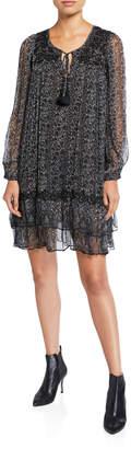 Love Sam Mentha Floral Bead Embellished Chiffon Long Sleeve Dress