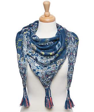 Joe Browns Womens Tassel Scarf with Repeat Print Blue