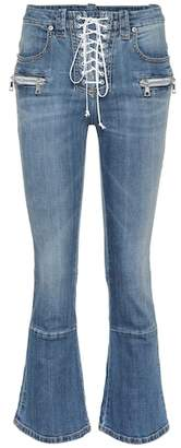 Unravel Lace-up flared jeans