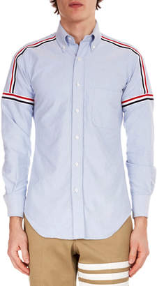 Thom Browne Men's Button-Down Point-Collar Oxford Shirt w/ Elastic Stripe Details