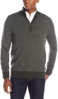 Blend of America Oxford NY Men's Quarter Zip Wool Zip Mock Neck Sweater