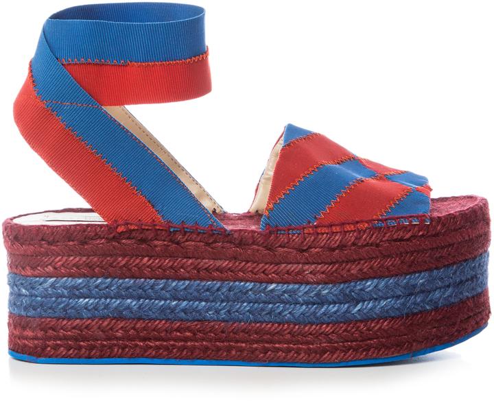 STELLA MCCARTNEY Striped bi-colour espadrille sandals