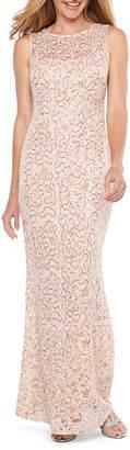 BLU SAGE Blu Sage Sleeveless Sequin Lace Evening Gown