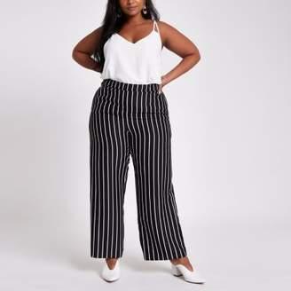River Island Plus black stripe wide leg pants