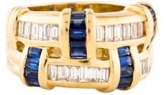 Charles Krypell Diamond & Sapphire Band yellow Diamond & Sapphire Band