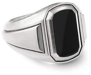 David Yurman Deco Signet Ring with Black Onyx