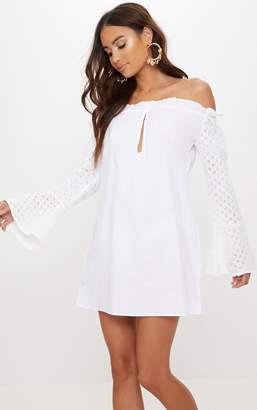 PrettyLittleThing White Bardot Lace Sleeve Shift Dress