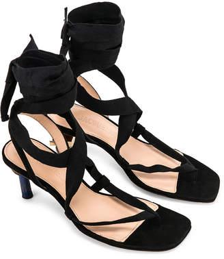 Jacquemus Capri Sandals in Black Suede | FWRD