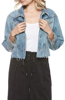 Paige Tori Raw Edge Crop Denim Jacket