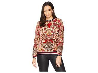 Hale Bob Belle Epoque Medallion Silk/Rayon Velvet Burnout Zelie Top