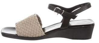 Salvatore Ferragamo Woven Wedge Sandals Beige Woven Wedge Sandals