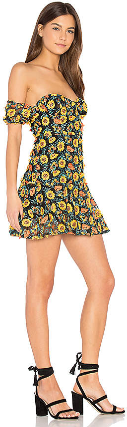 For Love & Lemons Amelia Strapless Mini Dress in Yellow 3