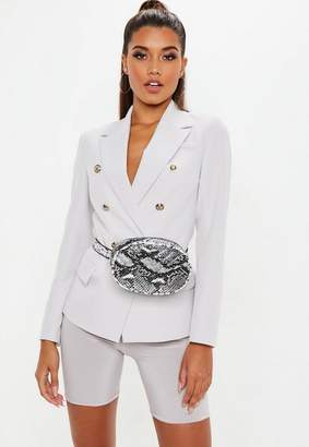 Missguided Light Grey Military Blazer
