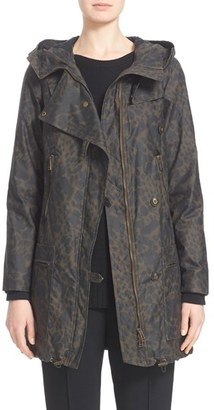 Women's Belstaff 'Habledon' Panther Print Hooded Waxed Cotton Parka $1,095 thestylecure.com