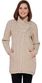 Aran Craft Merino Wool Long Cardigan withButton Collar