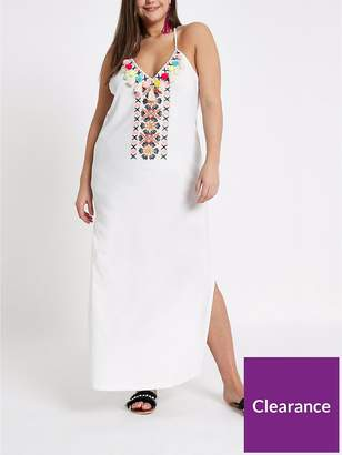 River Island RI Plus RI Plus Jersey Embellished Maxi Beach Dress - White