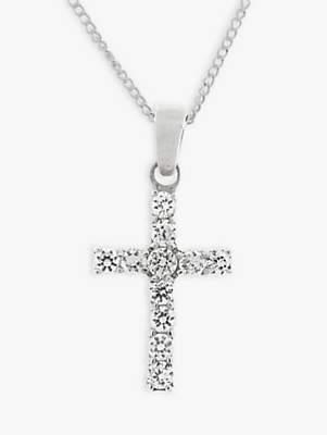 Silver Cross Nina B Sterling Cubic Zirconia Pendant