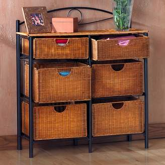 Southern Enterprises Iron and Wicker Storage Cabinet