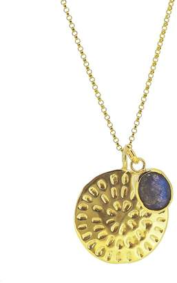 Yvonne Henderson Jewellery - Moroccan Inspired Large Organic Disc Pendant with Labradorite Charm Long Chain Gold