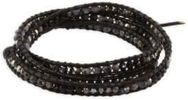 Chan Luu Onyx, White Opal Sky Blue Swarovski Crystal & Denim Swarovski Crystal Beaded Leather Wrap Bracelet