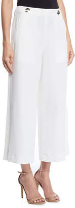 Derek Lam 10 Crosby Cropped Crepe Culottes w/ Button Details