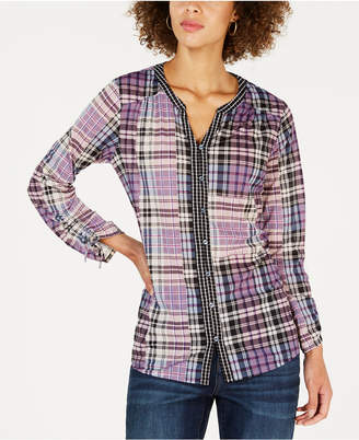 Style&Co. Style & Co Plaid Split-Neck Shirt, Created for Macy's