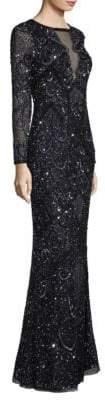 Aidan Mattox Illusion V-Neck Gown