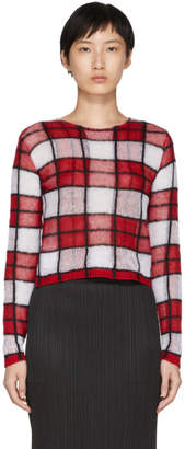 McQ Red Sheer Check Jumper Sweater