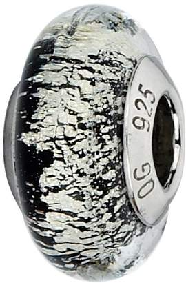 Murano Prerogatives Sterling Black/White Italian Glass Bead
