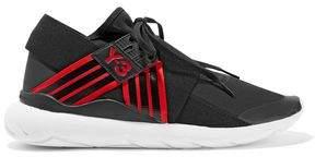 Y-3 +adidas Originals Qasa Elle Leather-Trimmed Neoprene Sneakers