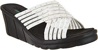 Skechers Cross-Band Slide Wedge Sandals -Star Light
