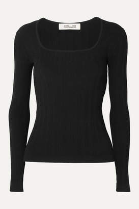 Diane von Furstenberg Fera Ribbed Stretch-jersey Top - Black