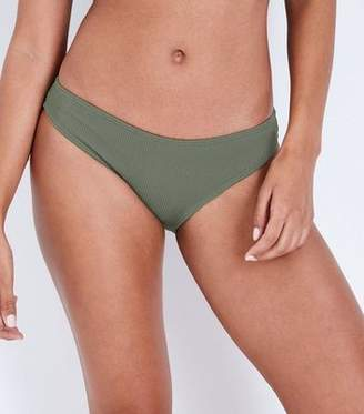 New Look Khaki Ribbed Bikini Bottoms