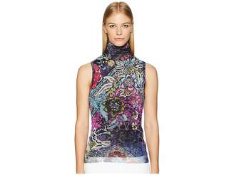 Fuzzi Sleeveless T-Neck Floral Patch Print Women's Clothing