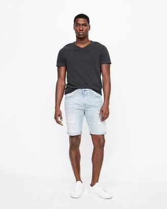 Express Slim 9 Inch Distressed Denim Shorts