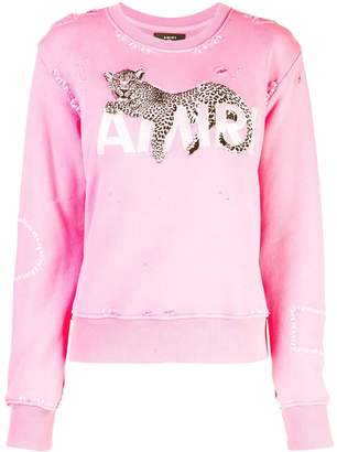 Amiri leopard detail sweatshirt