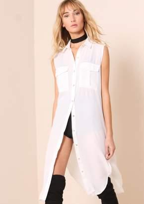 d8971dec Missy Empire Missyempire Sydney White Sheer Split Detail Longline Shirt
