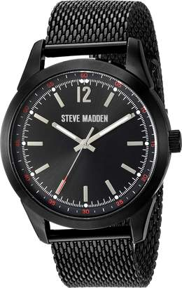 Steve Madden Men's Quartz Metal and Alloy Casual Watch, Color: (Model: SMW068BK)