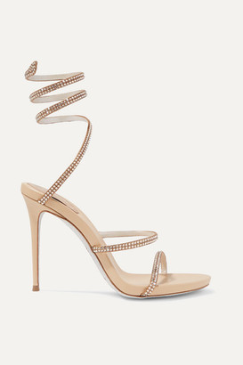 Rene Caovilla Cleo Crystal-embellished Leather Sandals - Gold