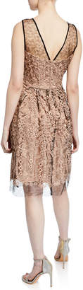 Taylor Embroidered Mesh Fit-and-Flare Cocktail Dress