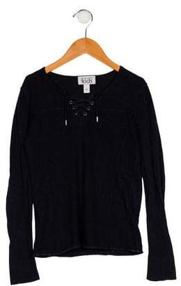 Autumn Cashmere Girls' Long Sleeve Lace-Up Top
