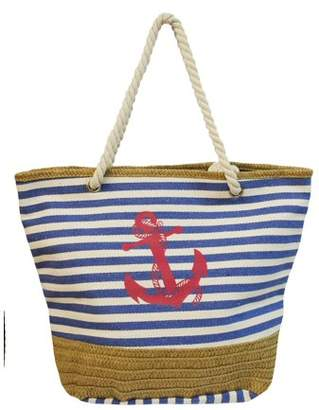 Vera Striped Tote with Rope Handles, Anchor and Straw Detail