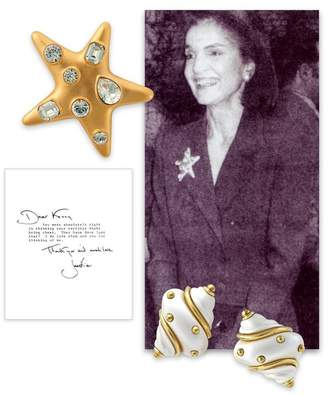 Kenneth Jay Lane Satin Gold Crystal Star Brooch