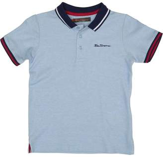 Ben Sherman Boys Birdseye Pique Polo Sky Blue