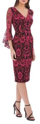 Carmen Marc Valvo V-Neck Lace Bell-Sleeve Dress