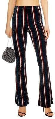 Topshop Velvet Stripe Flared Trousers